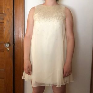 Ted Baker Ivory Chiffon Shift Dress Gold Sequins